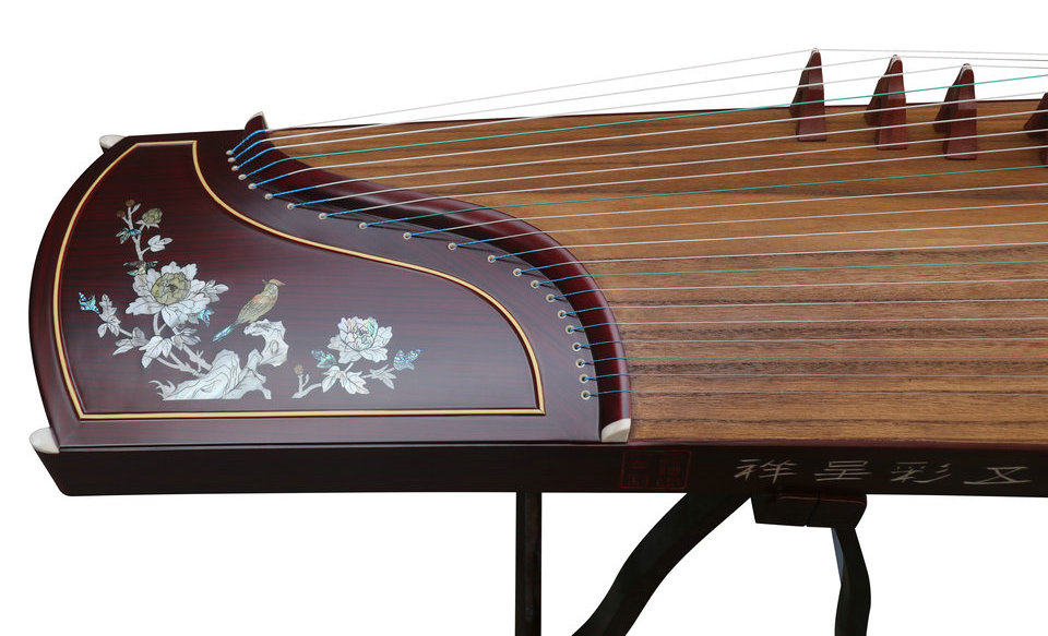 Professional Peony Carved Purple Sandalwood Guzheng Instrument Chinese Zither