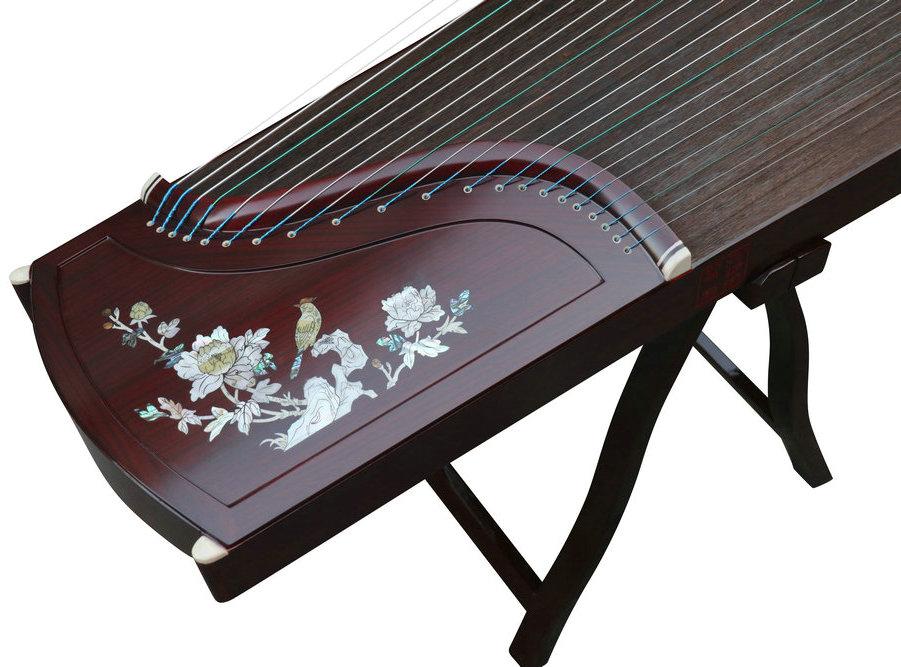 Professional Bird & Flower Carved Purple Sandalwood Guzheng Chinese Harp