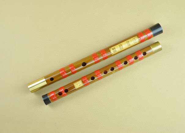 Study Level Chinese Bitter Bamboo Flute Dizi Instrument with Accessories 2 Sections