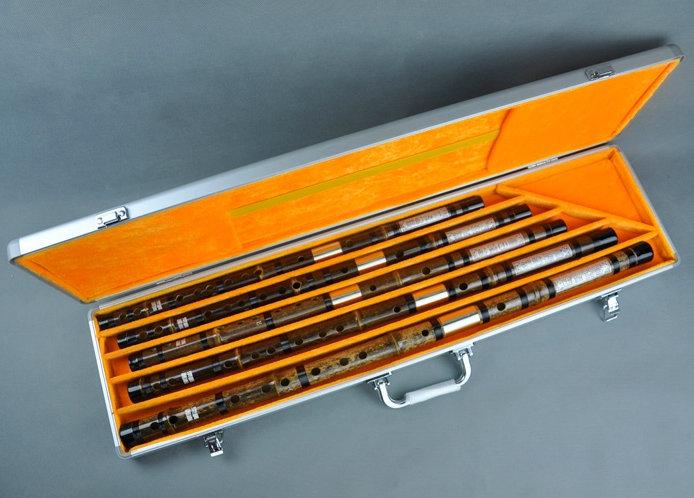 Professional Level Chinese Purple Bamboo Flute Dizi Instruments Kit with Case