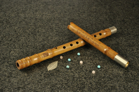 Concert Level Yellow Sandalwood Flute Xiao Instrument 2 Sections Short Type