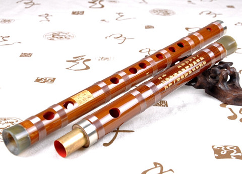Concert Grade Bitter Bamboo Flute Chinese Dizi Instrument 2 Sections with Accessories