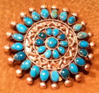 Zuni Blue Gem Turquoise Teardrop Round Pin 1970's