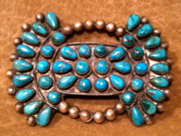 Zuni Turquoise Blue Gem Silver Bow Tie Pawn Pin