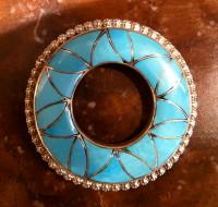 Zuni Turquoise Inlay Pin/Pendant Orlinda Natewa