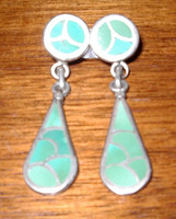 ZUNI TURQUOISE DANGLE INLAY PAWN EARRINGS