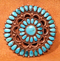 Zuni Turquoise Cluster Pawn Pin Doris & Wayne Ondelacy