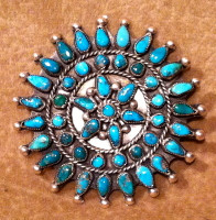 Zuni Turquoise Cluster Pawn Pin ZTCPP7