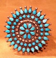 Zuni Turquoise Cluster Pawn Pin ZTCPP54
