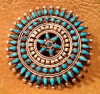 Zuni Turquoise Cluster Pawn Pin ZTCPP53
