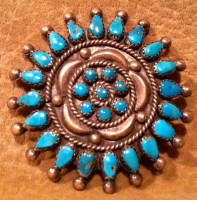Zuni Turquoise Cluster Pawn Pin ZTCPP43
