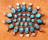 Zuni Turquoise Cluster Oval Pawn Pin