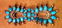 Zuni Turquoise Silver Bow Tie Pawn Pin