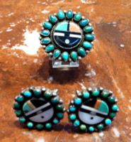 Zuni Pawn Estate Jewelry Ring Clip Earring Sunface Turquoise Cabochon Inlay Set
