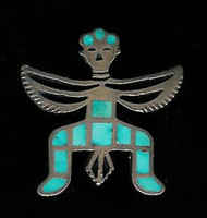 Zuni Knifewing Turquoise Pawn Pin