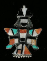 Zuni Knifewing Multi-Inlay Pawn Pin