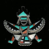 Zuni Knifewing Multi-Inlay 1960's Pin