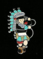 Zuni Hoop Dancer Multi-Inlay Pin Pendant SOLD