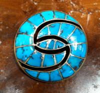 Zuni Hummingbird Design Turquoise Inlay 1930's Pawn Pin ZP105 SOLD