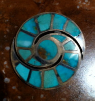 Zuni Hummingbird Design Turquoise Inlay 1930's Pawn Pin ZP106 SOLD