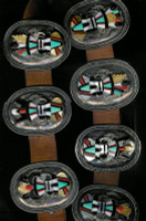 Zuni 1980s Oval Multi-Color Raised Inlay Ram Kachina Concho Belt Andrew Dewa