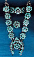 Zuni Inlay Turquoise Floral Necklace Bracelet & Ring_11