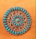 Zuni Morenci Turquoise Round Pin Pendants Lorraine Waatsa