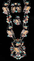 Zuni Inlay Owl Necklace Bracelet Ring & Earrings Sefferino Esalio