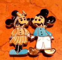 Zuni Minnie & Mickey Mouse Multi Color Pin Pendants