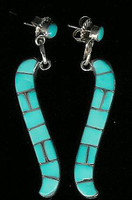 EARRINGS ZUNI MULTI-INLAY TURQUOISE DANGLE