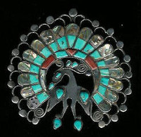 Zuni Multi-Inlay Peacock Pin