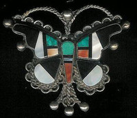 Zuni Butterfly Multi-Inlay Pawn Pin ZMIBPP4 SOLD