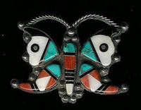 Zuni Butterfly Multi-Inlay Pawn Pin