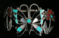 Zuni Multi-Inlay Butterfly Flower Design Pawn Bracelet Anselm Wallace