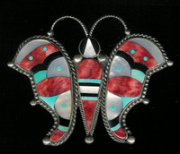 Zuni Multi-Inlay Butterfly Pin Dee Brown SOLD