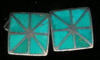 Zuni Multi-Inlay Blue Gem Turquoise Pawn Cuff Links SOLD