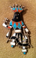 Zuni Multi-Inlay Apache Dancer Pin Pendant Vera Luna