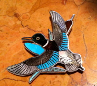 Zuni Mallard Duck Multi Color Pin Pendant H.M. Coonsis SOLD