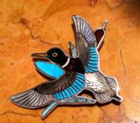 Zuni Mallard Duck Multi Color Pin Pendant H.M. Coonsis SOLD