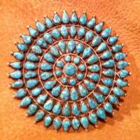 Zuni Lone Mountain Turquoise Teardrop Large Cluster Pin