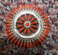 ZUNI CORAL NEEDLEPOINT PIN/PENDANTS HASKIE SOLD
