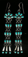 EARRINGS ZUNI TURQUOISE DANGLE FRENCH WIRE EARRINGS SOLD