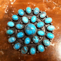 ZUNI BISBEE TURQUOISE CLUSTER PIN V