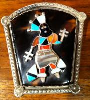 Zuni Apache Dancer Kachina Pawn Pin Vera Luna2