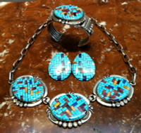 TURQUOISE NECKLACE (SOLD)  (BRACELET SOLD) (EARRINGS ONLY AVAILABLE) SANTO DOMINGO NAVAJO ANGIE REANO JEANETTE DALE