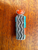 Sterling Silver Tufa Cast Raised Inlay Turquoise & Coral Money Clip Roger Skeet SOLD