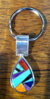 Navajo Sterling Silver Multi-Stone Key Ring
