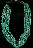 SANTO DOMINGO TURQUOISE 5 STRAND NUGGET NECKLACE