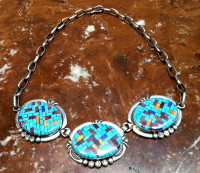 SANTO DOMINGO NAVAJO TURQUOISE INLAY CHOKER NECKLACE Angie Reano Jeanette Dale SOLD