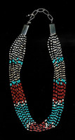 SANTO DOMINGO CORAL TURQUOISE ONYX CLAM SHELL HEISHI NECKLACE Pablita Balion SOLD